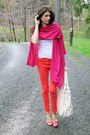 Hot-pink-scarf-coral-h-m-pants-hot-pink-alfani-heels