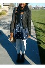 Navy-arizona-jean-co-boots-navy-seagull-printed-hollister-dress
