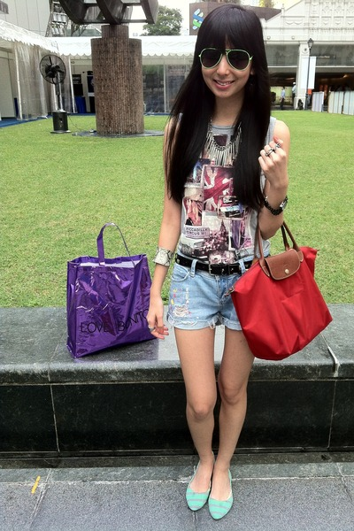 neon cotton on sunglasses - longchamp bag - Forever 21 shorts - stripes flats