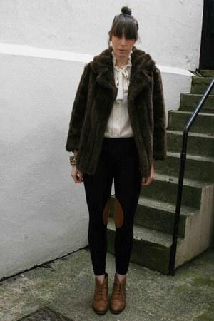 asos boots - vintage coat - asos leggings - vintage blouse