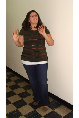 New York and Company top - Loft jeans - Ellen Tracy shirt