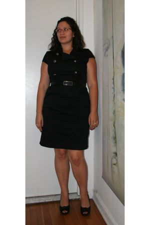 black Maggy London dress - black dr scholls shoes - silver Tiffany & Co earrings