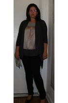 silver Simply Vera by Vera Wang shirt - gray New York & Company sweater - black