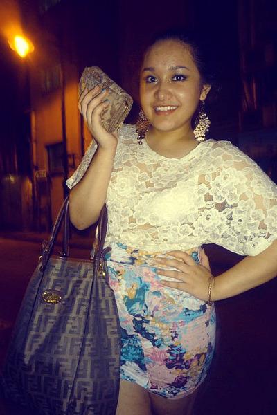 white H&M blouse - blue cotton on skirt - Fendi purse