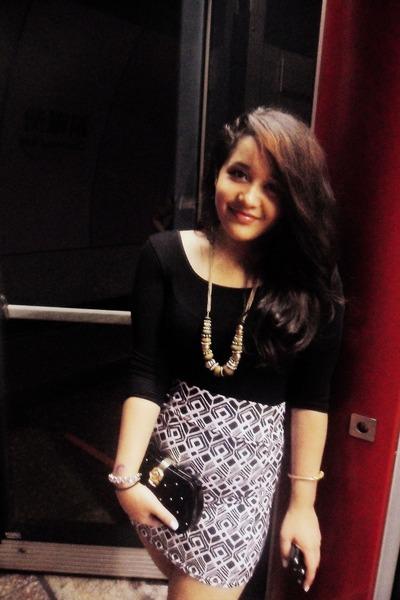 white cotton on skirt - black cotton on blouse