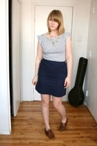 H&M top - APC Madras skirt - vintage shoes