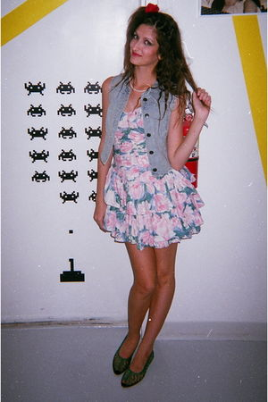 pink vintage from Ebay dress - blue Urban Outfitters vest - green shoes
