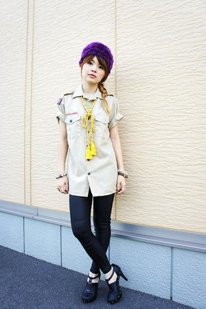 Forever 21 heels - used hat - Forever 21 leggings - boy scouts of america shirt