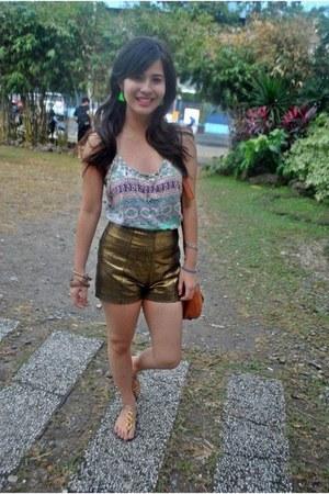 gold Bazaar sandals - bronze Style Staple shorts - aquamarine Forever21 top
