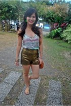gold Bazaar sandals - bronze Style Staple shorts - aquamarine Forever21 top