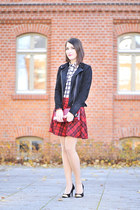 tartan cotton new look skirt - leather new look jacket