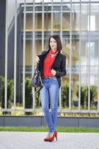 red new look blouse - skinny jeans Cubus jeans