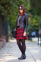 tartan new look skirt - leather H&M jacket