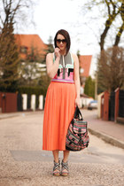 maxi long vintage skirt - aztec wedges new look shoes