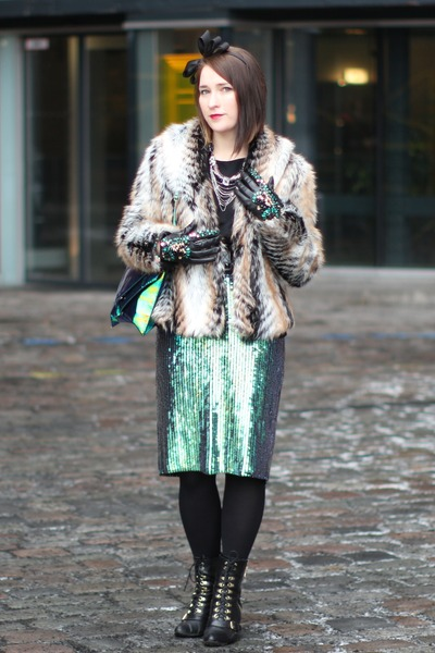 crystals by dziubeka necklace - fur H&M jacket - bow H&M accessories