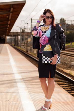 leather jacket H&M jacket - pencil skirt new look skirt