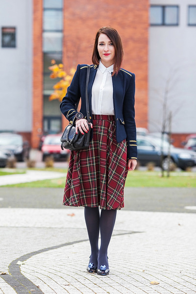 tartan PresKA skirt - shiny Melissa shoes - military Zara jacket