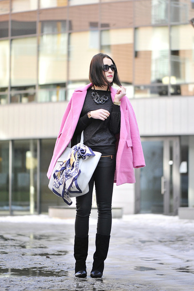 pink Front Row Shop coat - skinny jeans Zara pants