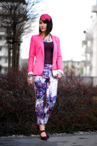 pink Zara jacket - colourfull H&M pants