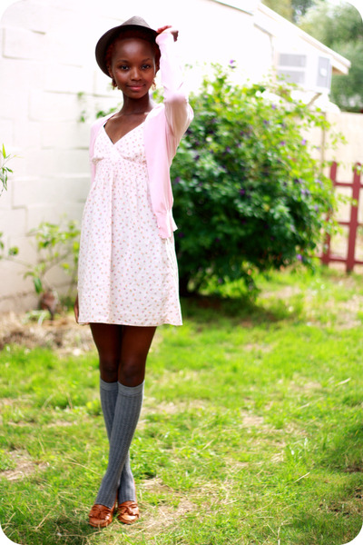 pink dress - brown shoes - brown hat - gray socks - pink cardigan