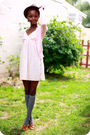 Pink-dress-pink-cardigan-gray-socks-brown-shoes-brown-hat