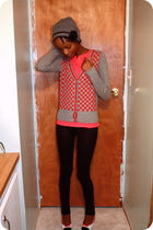 pink thrifted cardigan - black Walmart leggings - pink Target shirt - gray thrif