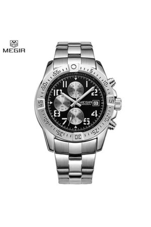 silver quartz MEGIR watch
