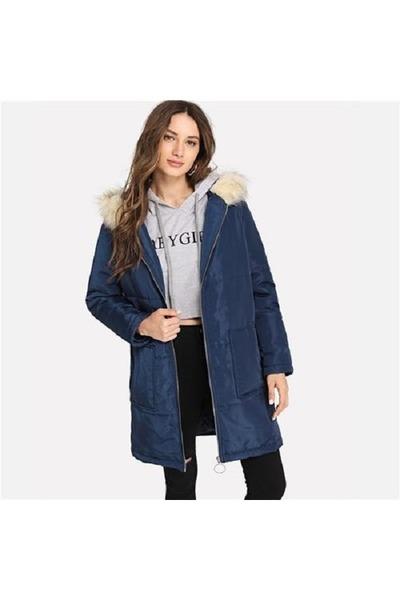 navy polyester shein coat