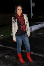 scarf - red boots - leather jacket