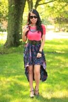 Target top - diy skirt - floral wedges