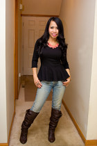 peplum Body Central top - Target boots - Tommy Hilfiger jeans