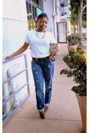 vintage belt - vintage blouse - Express jeans - thrifted accessories