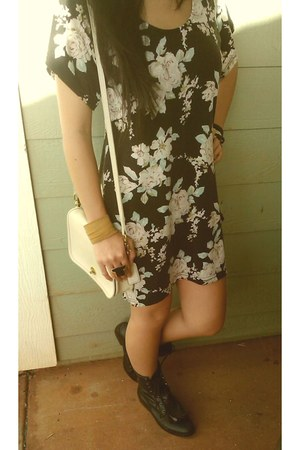 black fringe we who see uo combat boots - mink pink floral print dress - ivory v