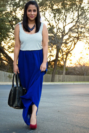 blue maxi Forever 21 skirt - ruby red thrifted pumps