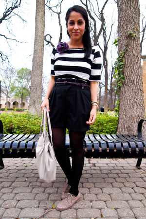 striped Forever 21 top - off white Jessica Simpson bag