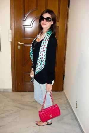 black Zara blouse - Pinko jeans - black Diane Von Furstenderg shoes - blue Uterq