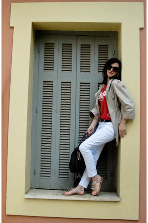 white Gap jeans - red Gap t-shirt - beige Zara coat - brown Louis Vuitton belt -