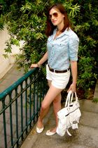blue denim Zara shirt - white tory burch shoes - white Luella bag