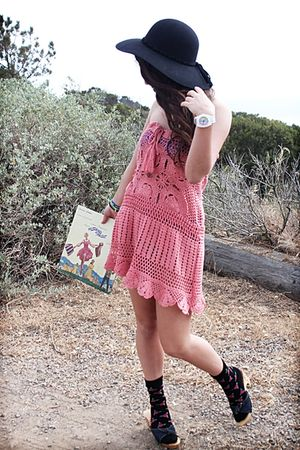 pink dress - black luck brand hat - black Betsey Johnson socks - Betsey Johnson