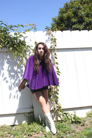 purple - black skirt - white boots