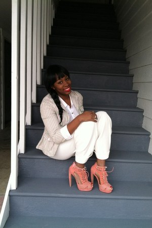 peach Jeffrey Campbell heels - pink the loft blazer - white no brand pants