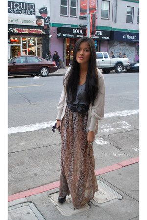 grey Aqua blouse - long sheer Forever 21 skirt - cream Forever 21 cardigan