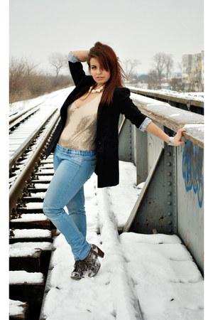 Motivi bodysuit - light blue Zara jeans - black Pimkie blazer