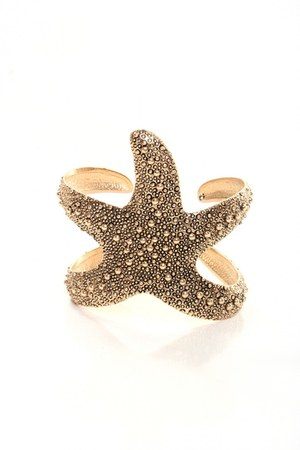 gold starfish cuff bracelet
