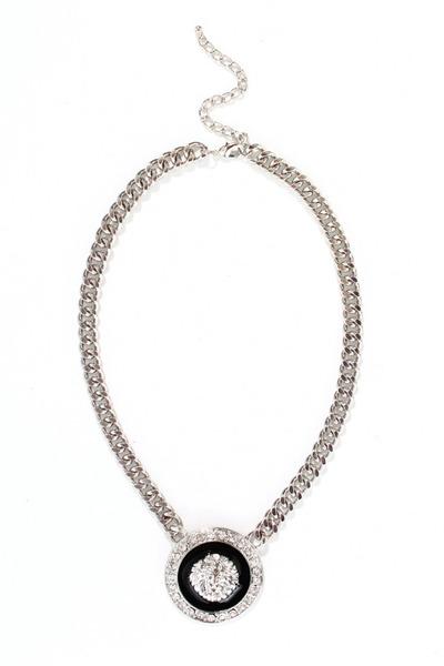 silver lion medallion necklace