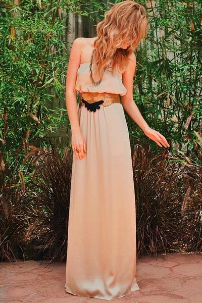 beige silk tube maxi Super Brand dress