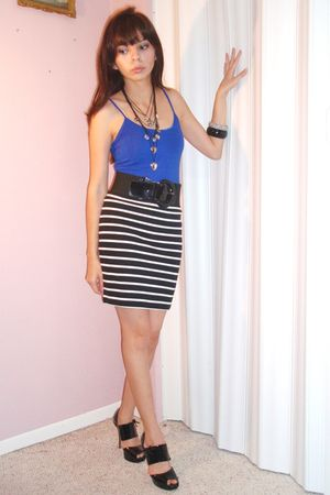 black shoes - Forever 21 skirt - blue Forever 21 shirt - black Forever 21 belt -