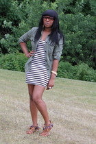 black H&M dress - olive green American Eagle top - tawny Aldo sandals