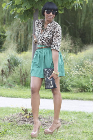 brown Zara top - black BCBG bag - teal Zara skirt