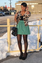brown leopard print H&M cardigan - forest green Zara skirt - black Isabella Oliv